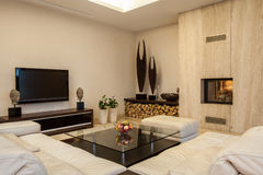 Travertine house: Interior creative solutions Stock Photos