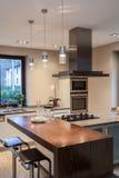 Travertine house - kitchen Stock Images
