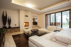 Travertine house: living room royalty free stock photography