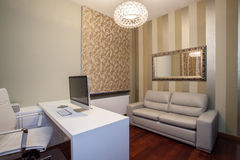 Travertine house - modern home office Stock Images