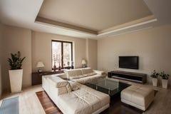 Travertine house: Modern living room Stock Photo