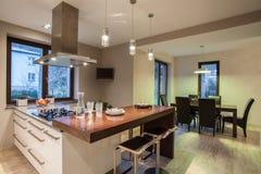 Travertine house - spacious interior Royalty Free Stock Photos