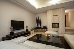 Travertine house: Spacious living room Stock Images