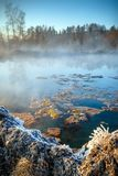 Travertine lake with hot water in winter,. Travertine lake with hot water and frozen shores in winter, close to the spa Vysne Ruzbachy, Slovakia, Europe Stock Image
