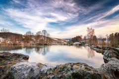 Travertine lake in Vysne Ruzbachy spa. Travertine lake with hot water close to the spa Vysne Ruzbachy, Slovakia, Europe Stock Image