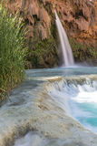 Travertine Ledge at Havasu Falls. A travertine ledge below Havasu Falls where it plunges into a deep blue-green pool on the Havasupai Indian Reservation in the royalty free stock images