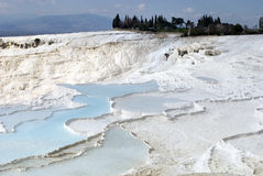 Travertine Pools Above Pamukkale, Turkey Stock Photos