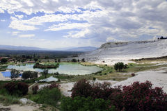 Travertine pools at ancient Hierapolis, now Pamukkale, Turkey. 20 july, 2014 Royalty Free Stock Images