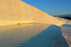 Travertine pools and terraces in Pamukkale. Sunset over the travertine pools and terraces in Pamukkale Stock Images