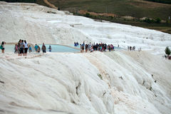 Travertine pools and terraces in Pamukkale Royalty Free Stock Images