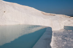 Travertine pools and terraces in Pamukkale, Turkey Royalty Free Stock Photos