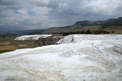 Travertine pools and terraces in Pamukkale. Travertine pools and terraces in Pamukkale, Turkey Stock Images