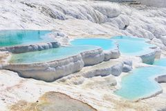 Travertine pools and terraces in Pamukkale, Turkey Stock Images
