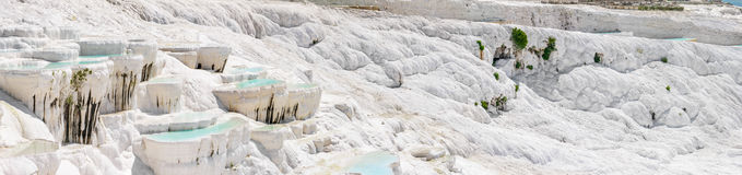 Travertine pools and terraces in Pamukkale, Turkey royalty free stock photography