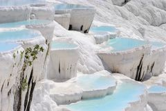 Travertine pools and terraces in Pamukkale, Turkey royalty free stock photo