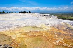 Travertine pools and terraces at Pamukkale, Turkey. Royalty Free Stock Photography