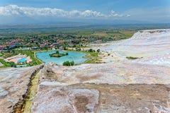 Travertine pools and terraces at Pamukkale, Turkey. Stock Photos