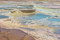 Travertine pools and terraces at Pamukkale, Turkey. Royalty Free Stock Photo