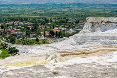 Travertine pools and terraces at Pamukkale, Turkey. Royalty Free Stock Image
