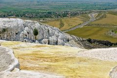 Travertine pools and terraces at Pamukkale, Turkey. Royalty Free Stock Photos