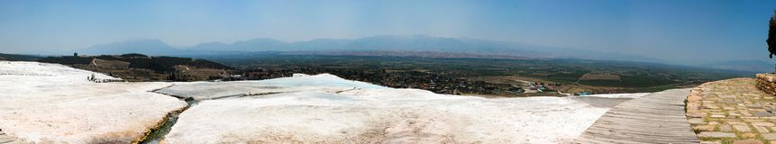 Travertine  pools and terraces panorama, Pamukkale, Turkey Stock Image