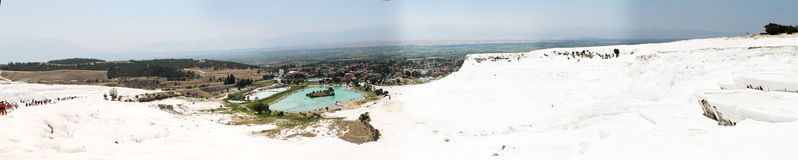 Travertine  pools and terraces panorama, Pamukkale, Turkey Stock Photo