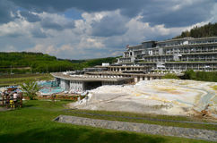 Travertine rock formations in Egerszalok SPA (Hungary) Royalty Free Stock Photography