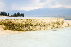 Travertine terrace filled with water Royalty Free Stock Photo
