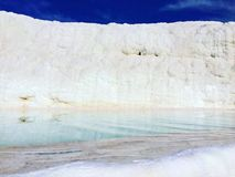 Travertine terrace with nature hot spring in Pamukkale, Turkey. Stock Photos