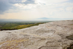 Travertine terraces. Empty travertine teraces in Pamukkale, Denizli, Turkey Royalty Free Stock Photos