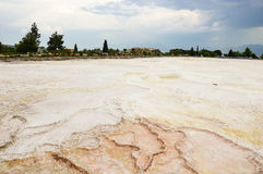 Travertine terraces. Empty travertine teraces in Pamukkale, Denizli, Turkey Royalty Free Stock Photo