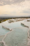 Travertine terraces filled with water Royalty Free Stock Photos