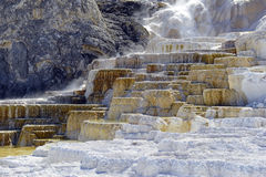 Travertine terraces, Mammoth hot springs, Yellowstone National Park, Wyoming Stock Photos