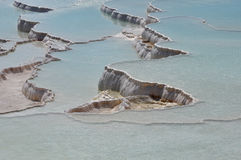 Travertine Terraces at Pamukkale, meaning cotton castle in Turkish. Royalty Free Stock Photos