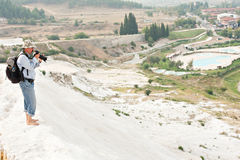 Travertine terraces at Pamukkale Stock Photography