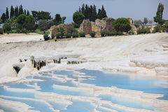 Travertine terraces in Pamukkale, Turkey Royalty Free Stock Photos
