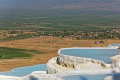 Travertine terraces in Pamukkale, Turkey Royalty Free Stock Images