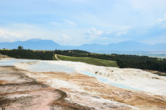 Travertine terraces. Travertine teraces some empty and some filled with water in Pamukkale, Turkey Stock Images