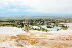 Travertine terraces. Travertine teraces some empty and some filled with water in Pamukkale, Turkey Royalty Free Stock Photos
