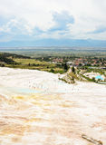 Travertine terraces. Travertine teraces some empty and some filled with water in Pamukkale, Turkey Stock Image