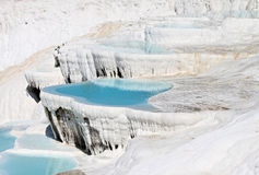 Travertines of Pamukkale. World famous Natural Beauty Pamukkale Travertines photo taken during hot summer afternoon royalty free stock images