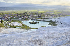 Travertines in Pamukkale, Turkey. Beautiful view of the Pamukkale town Stock Photography