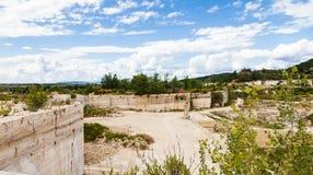 Travertino marble. Serre di Rapolano, Siena province, Tuscany. Industry of Travertino marble royalty free stock photos