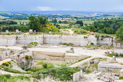 Travertino marble. Serre di Rapolano, Siena province, Tuscany. Industry of Travertino marble royalty free stock images