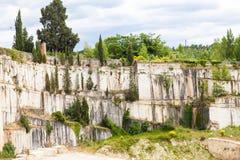 Travertino marble. Serre di Rapolano, Siena province, Tuscany. Industry of Travertino marble stock image