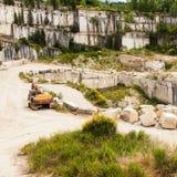 Travertino marble. Serre di Rapolano, Siena province, Tuscany. Industry of Travertino marble royalty free stock photo