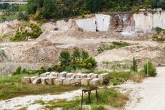 Travertino marble. Serre di Rapolano, Siena province, Tuscany. Industry of Travertino marble stock photo
