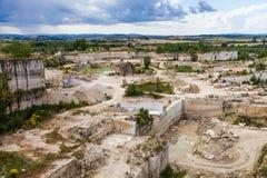Travertino marble. Serre di Rapolano, Siena province, Tuscany. Industry of Travertino marble royalty free stock image
