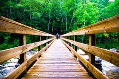 Travesía asustadiza del puente de madera Imágenes de archivo libres de regalías