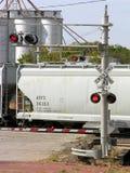 Travesía de ferrocarril de la luz roja Imágenes de archivo libres de regalías